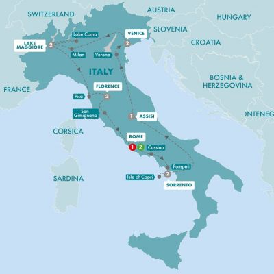 Map Of Italy Showing Pisa.Central Italy Tours And Vacation Packages In Italy